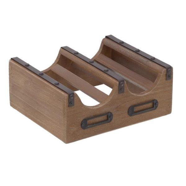 Επιτραπέζια Μπουκαλοθήκη 2 Θέσεων Ξύλο/ Μέταλλο 24x20x10cm