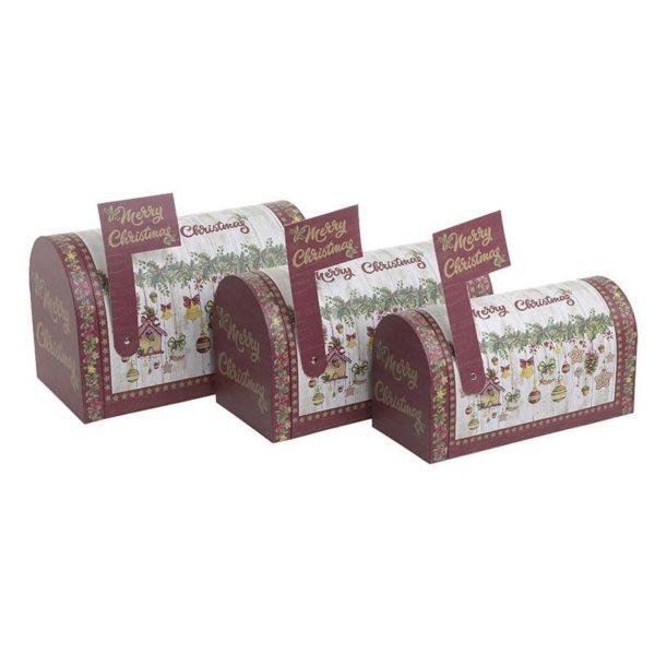 Επιτραπέζια Χριστουγεννιάτικα Μεταλλικά Κουτιά Πολυχρωμία ''Merry Christmas'', Σετ Των 3