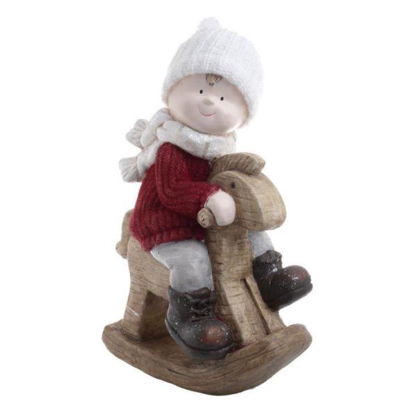 Επιτραπέζια Χριστουγεννιάτικη Φιγούρα Αγοράκι Κουνιστό Αλογάκι Λευκό/ Κόκκινο Y45