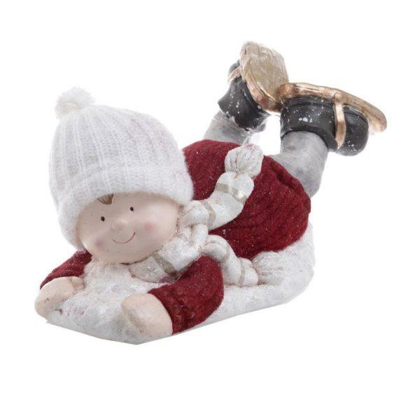 Επιτραπέζια Χριστουγεννιάτικη Φιγούρα Αγοράκι Ξαπλωτό Λευκό/ Κόκκινο Υ20