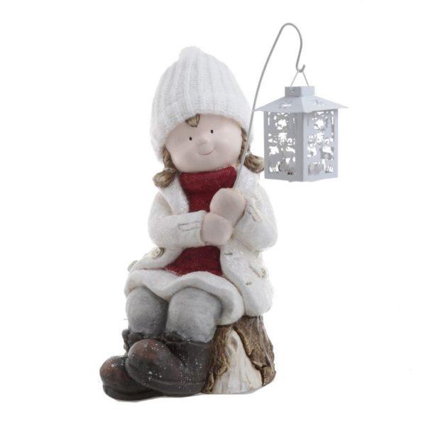 Επιτραπέζια Χριστουγεννιάτικη Φιγούρα Κοριτσάκι Με Φανάρι Λευκό/ Κόκκινο Υ43