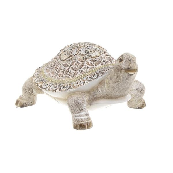 Επιτραπέζια Διακοσμητική Χελώνα Εκρού/ Καφέ 18x13x9.5 Inart
