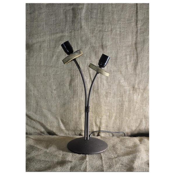 Επιτραπέζια Λάμπα Δίφωτη, Ξύλινα Στοιχεία - Μέταλλο