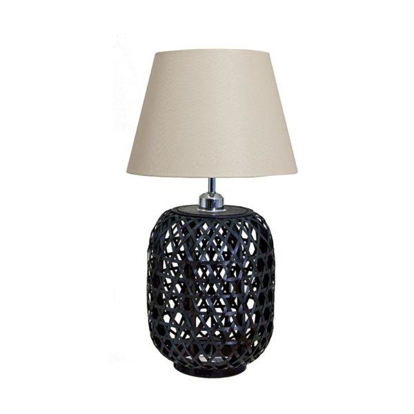 Επιτραπέζια Λάμπα Με Πλεχτή Βάση Bamboo Μαύρη Και Υφασμάτινο Καπέλο Υ58