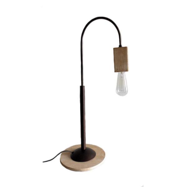 Επιτραπέζια Λάμπα Ψηλή 'Κύβος' Ξύλινη/ Μεταλλική Natural Beige/ Γκρι Υ63