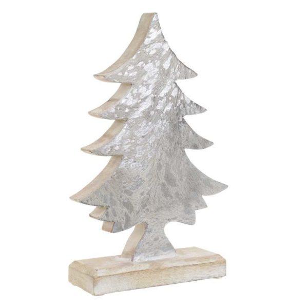 Επιτραπέζιο Χριστουγεννιάτικο Δέντρο Ξύλινο Natural Beige Με Φύλλο Ασημιού Υ31