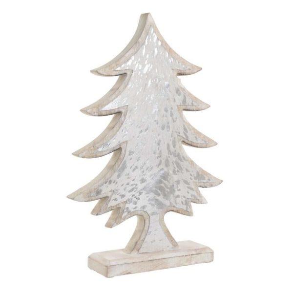 Επιτραπέζιο Χριστουγεννιάτικο Δέντρο Ξύλινο Natural Beige Με Φύλλο Ασημιού Υ42