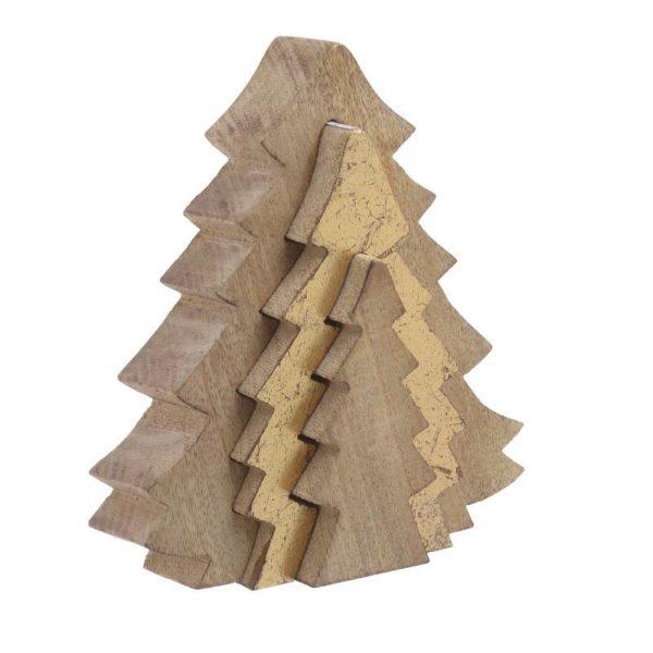 Επιτραπέζιο Χριστουγεννιάτικο Δέντρο Ξύλινο Τρισδιάστατο Καφέ/ Μπεζ 20x20