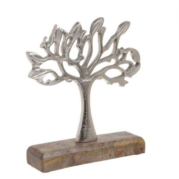 Επιτραπέζιο Διακοσμητικό Δέντρο Ασημί Σε Ξύλινη Βάση Υ21, Inart