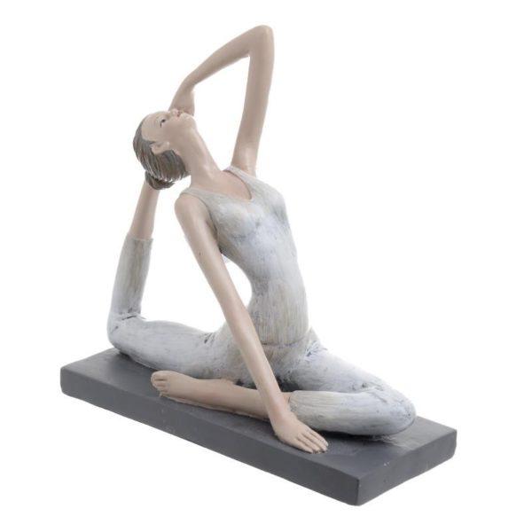 Επιτραπέζιο Διακοσμητικό Γυναικεία Φιγούρα Λευκό/ Καφέ 'Yoga', A Y17.5 Ιnart