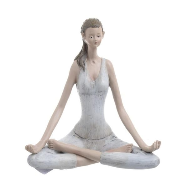 Επιτραπέζιο Διακοσμητικό Γυναικεία Φιγούρα Λευκό/ Καφέ 'Yoga', B Y19.5 Inart