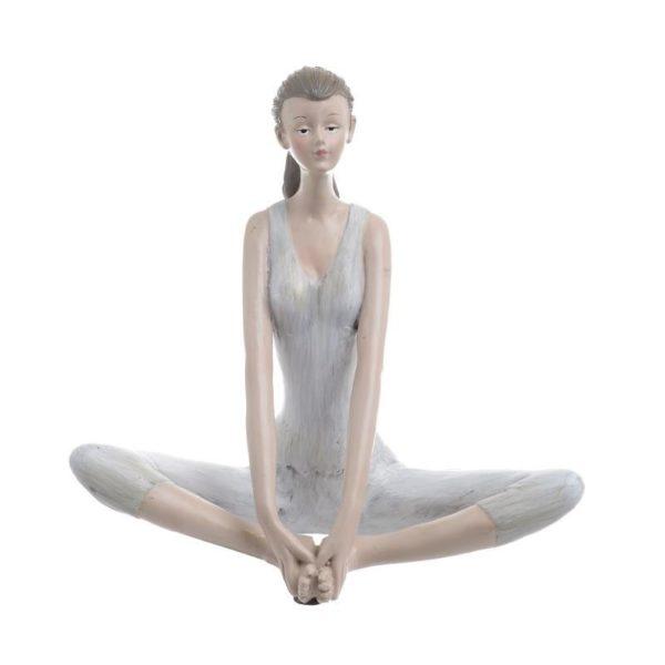 Επιτραπέζιο Διακοσμητικό Γυναικεία Φιγούρα Λευκό/ Καφέ 'Yoga', Γ Υ16 Inart
