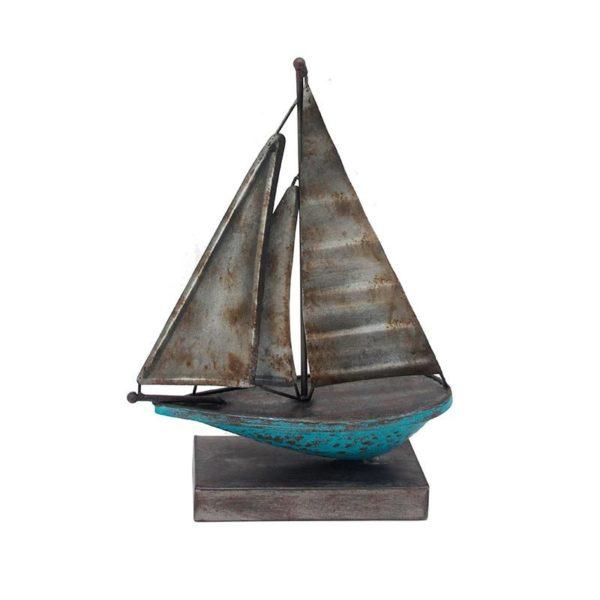Επιτραπέζιο Διακοσμητικό Καράβι Μεταλλικό Γκρι/ Μπλε Μ28.5 Υ39.5