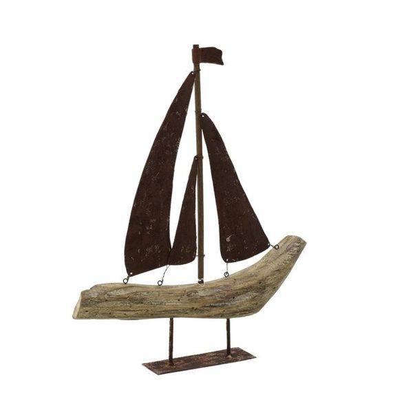 Επιτραπέζιο Διακοσμητικό Καράβι Ξύλινο Με Μεταλλικά Πανιά 35.5x5 Υ42