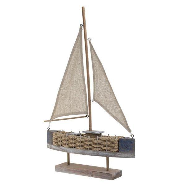 Επιτραπέζιο Διακοσμητικό Καράβι Ξύλινο Με Τριχιά Μπεζ/ Μπλε Υ62