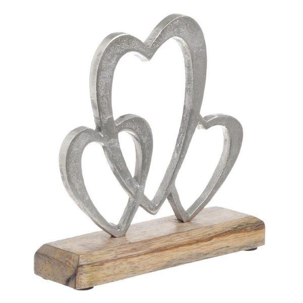 Επιτραπέζιο Διακοσμητικό Καρδιές Χυτό Αλουμίνιο Σε Ξύλινη Βάση Υ18