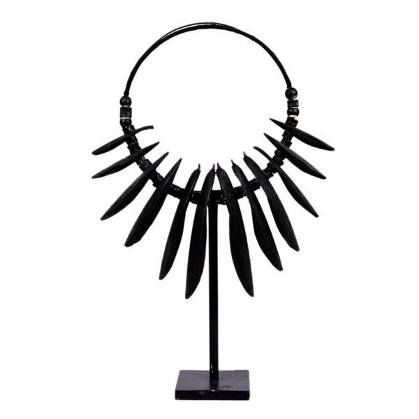 Επιτραπέζιο Διακοσμητικό Κολιέ 'Africa' Μαύρο Σε Μεταλλική Βάση 45x25 Y75