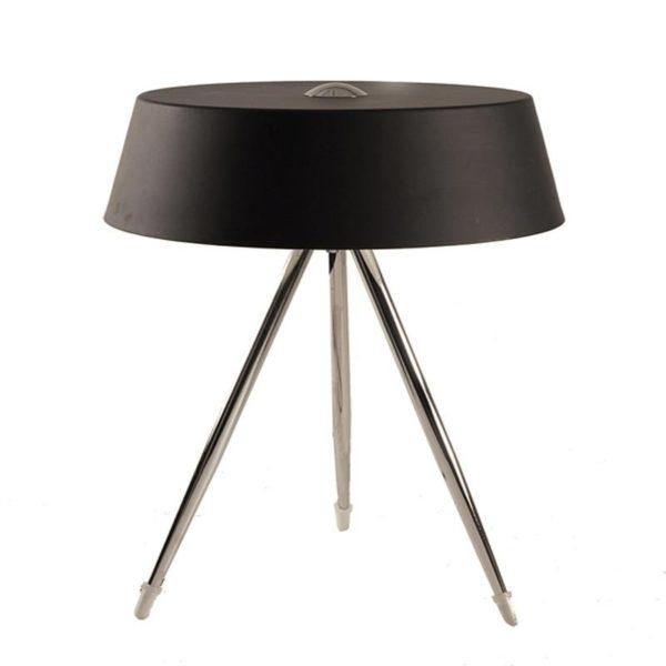 Επιτραπέζιο Φωτιστικό Μεταλλικό Τρίποδο Με Καπέλο Αλουμινίου Μαύρο | Zaros