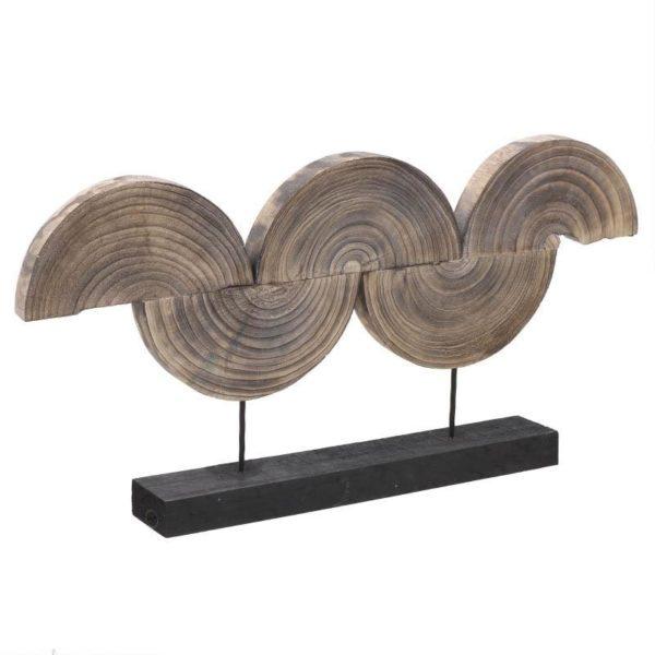 Επιτραπέζιο Μεγάλο Διακοσμητικό Από Μασίφ Ξύλο Natural Beige 'Κύμα' Μ91 Υ47