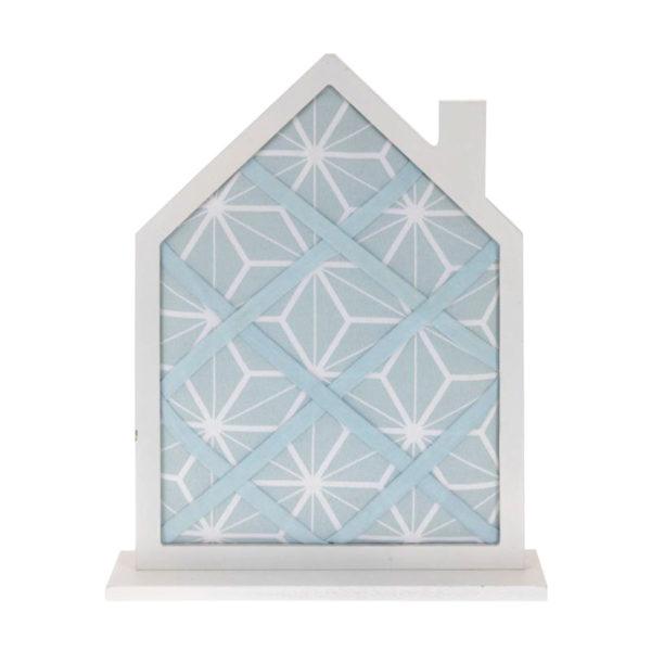 Επιτραπέζιο Memo Board Υφασμάτινο Με Ξύλινο Πλαίσιο Λευκό/ Γαλάζιο ''Σπιτάκι''