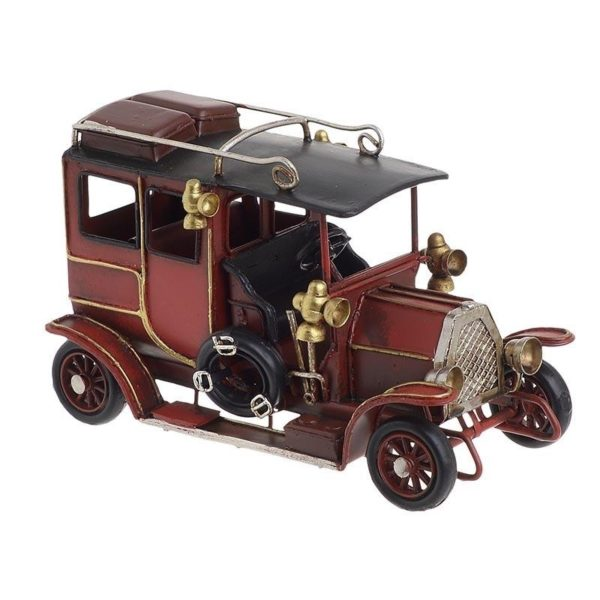 Επιτραπέζιο Μεταλλικό Διακοσμητικό Αυτοκίνητο Αντίκα Κόκκινο/ Μαύρο, Inart