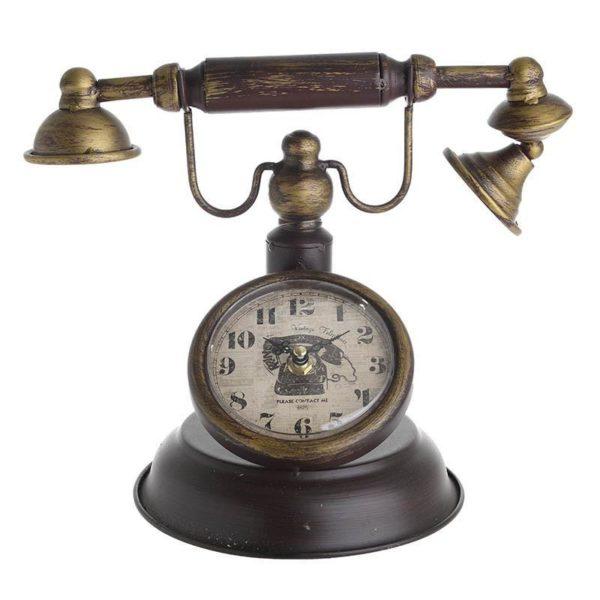 Επιτραπέζιο Μεταλλικό Ρολόι 'Τηλέφωνο' Μπορντό/ Μπρονζέ Υ24