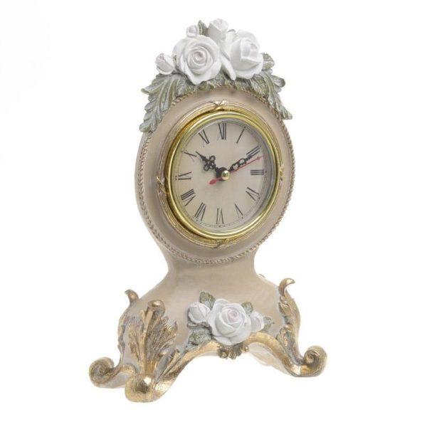 Επιτραπέζιο Ρολόι Εκρού/ Πράσινο Με Ανάγλυφα Τριαντάφυλλα, Inart