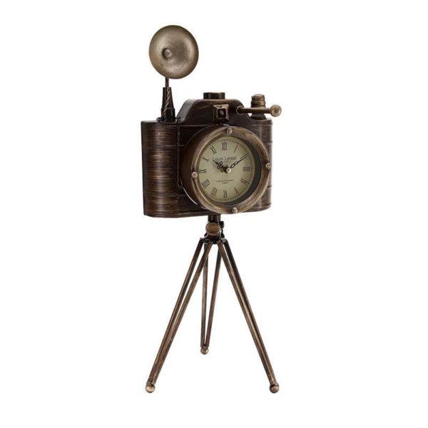Επιτραπέζιο Ρολόι Μεταλλικό Καφέ/ Χρυσό Φωτογραφική Μηχανή Vintage Με Τρίποδα Υ52