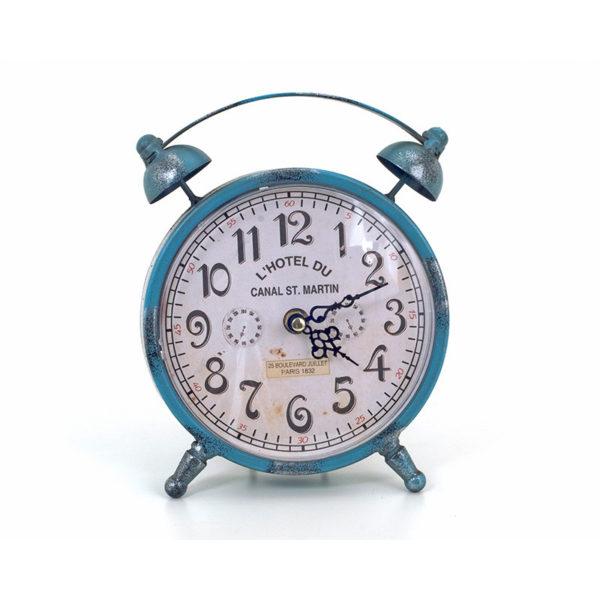 Επιτραπέζιο Ρολόι Μεταλλικό Vintage Γαλάζιο Με Λευκό Καντράν Υ22