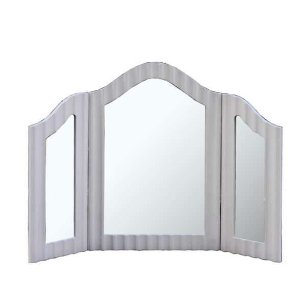 Επιτραπέζιος Καθρέπτης Μπουντουάρ Τρίπτυχος Ξύλινος Γκρι Μ86 Υ60