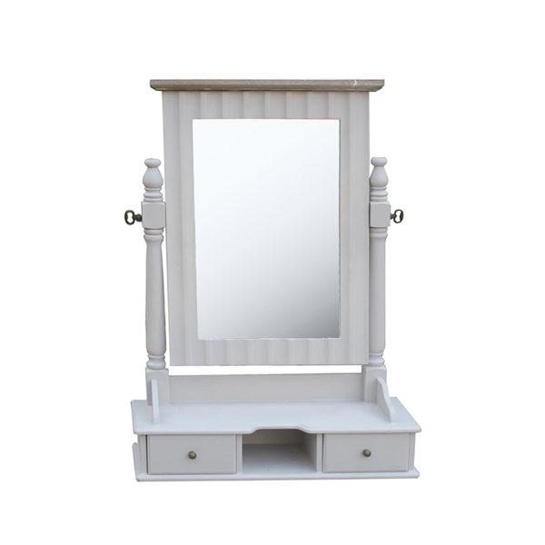 Επιτραπέζιος Καθρέπτης Μπουντουάρ Ξύλινος Γκρι Με 2 Συρτάρια Και Ανάκλιση Μ49 Υ70