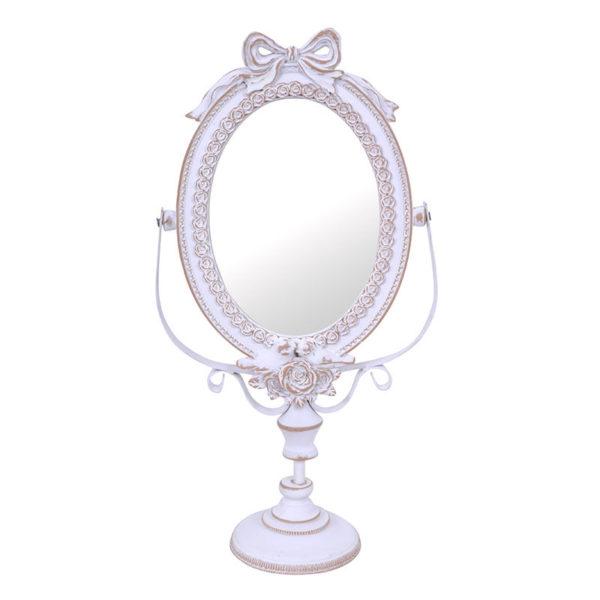 Επιτραπέζιος Καθρέπτης Με βάση Ρομαντικός Λευκός 'Bow' 45x21