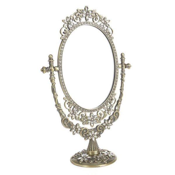 """Επιτραπέζιος Καθρέπτης Μεταλλικός Με Βάση, Αντικέ Χρυσός Σκαλιστός """"Λουλούδι"""" 19x30"""