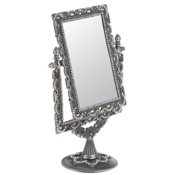 Επιτραπέζιος Καθρέπτης Μεταλλικός Με Βάση, Ασημί Σκαλιστός Με Στρας