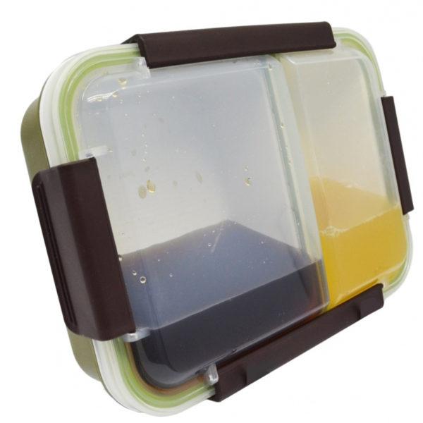 Φαγητοδοχείο Πλαστικό 2 Θέσεων Σε Πράσινο Χρώμα 22x16.5