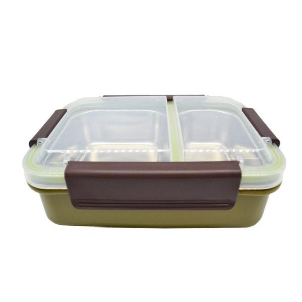 Φαγητοδοχείο Πλαστικό Διπλό Με Ανοξείδωτες Θήκες Σε Πράσινο Χρώμα 22x16
