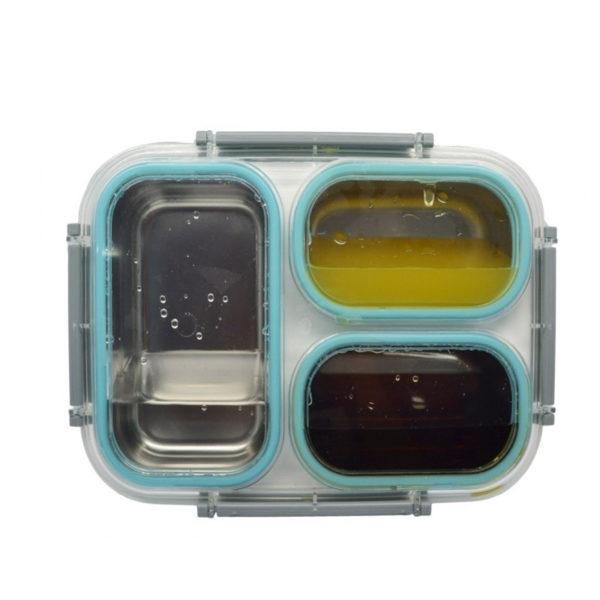 Φαγητοδοχείο Πλαστικό Τριπλό Με Ανοξείδωτες Θήκες Σε Μπλε Χρώμα 26x19
