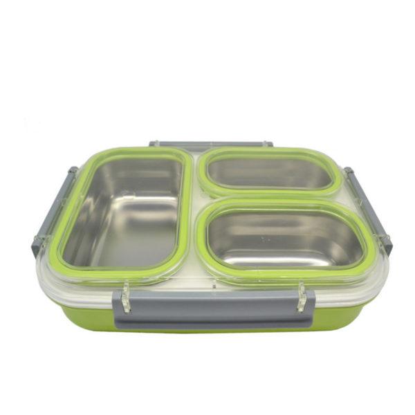 Φαγητοδοχείο Πλαστικό Τριπλό Με Ανοξείδωτες Θήκες Σε Πράσινο Χρώμα 26x19