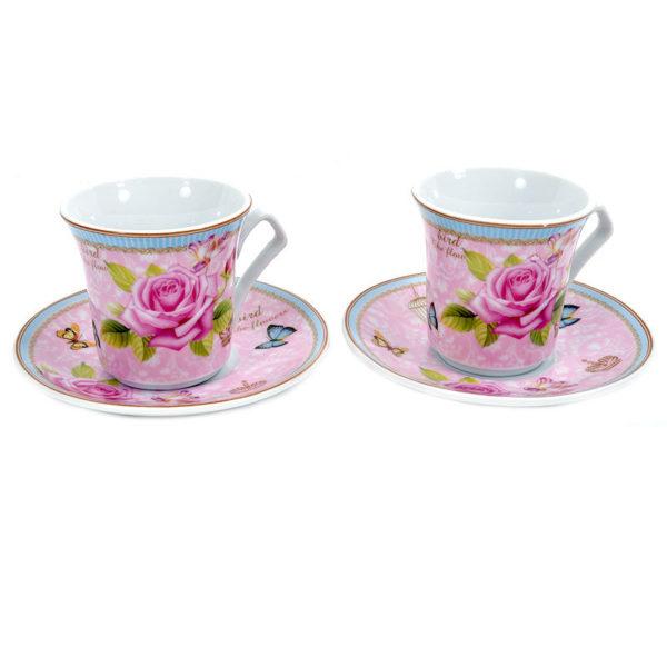 Φλυτζάνια Καφέ Πορσελάνινα Ροζ Τριαντάφυλλο/ Πεταλούδες, Σετ Των 6