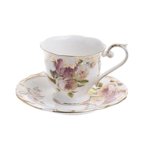Φλυτζάνια Τσαγιού Πορσελάνινα Λευκά Με Ροζ Τριαντάφυλλα και Χρυσή Μπορντούρα 'Isabelle', Σετ Των 6