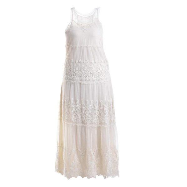 Φόρεμα Υφασμάτινο Με Δαντέλα Μακρύ Λευκό