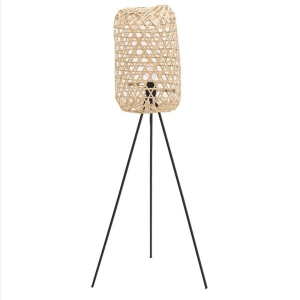 Φωτιστικό Δαπέδου Natural Beige/ Μαύρο Με Bamboo Διάτρητο Καπέλο 66x56 Υ115