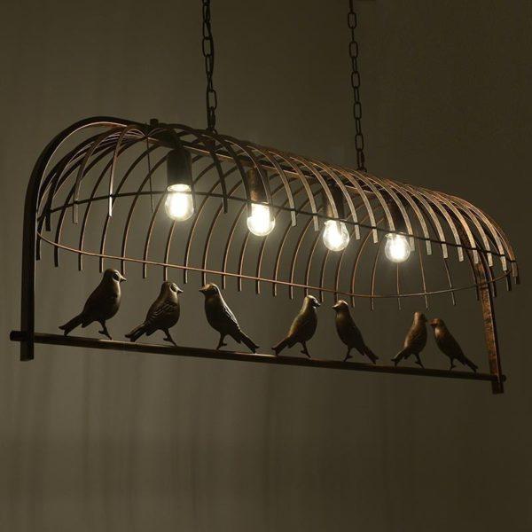 Φωτιστικό Οροφής 4φωτο Μεταλλικό Καφέ Αντικέ 'Canaries', Inart