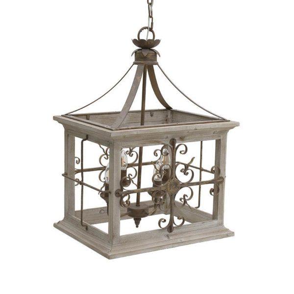 Φωτιστικό Οροφής 'Chateau' 4Φωτο Ξύλο/Μέταλλο Εκρού Με Παλαίωση  50X40 Υ70/ 160