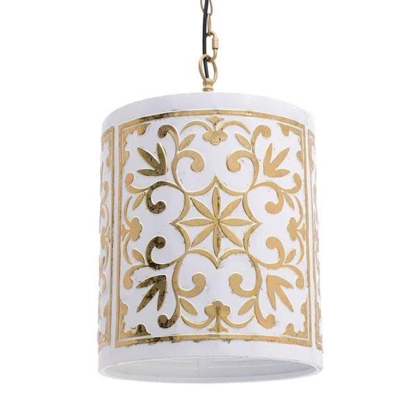 Φωτιστικό Οροφής Μεταλλικό Λευκό Με Χρυσό Μοτίβο Δ30x43, Inart