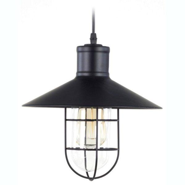 Φωτιστικό Οροφής Μεταλλικό Μαύρο Τύπου Λάμπα Θυέλλης