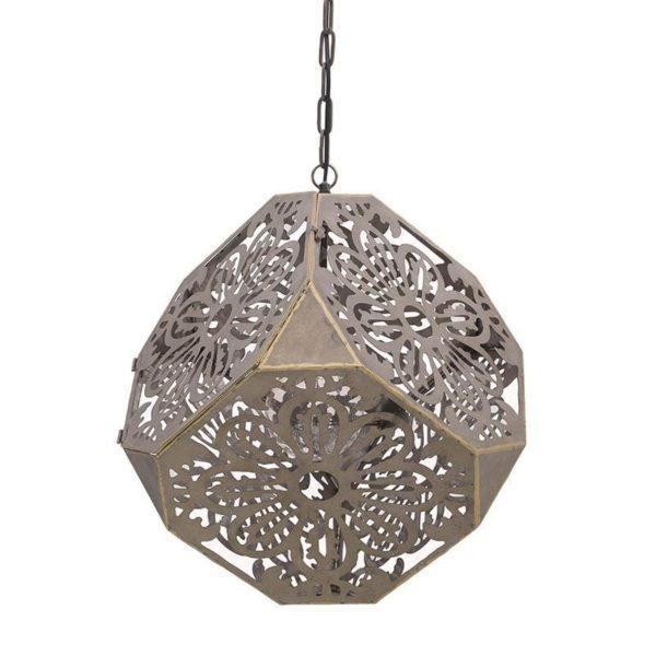 Φωτιστικό Οροφής Μεταλλικό Πολυγωνικό Διάτρητο Bronze Y156