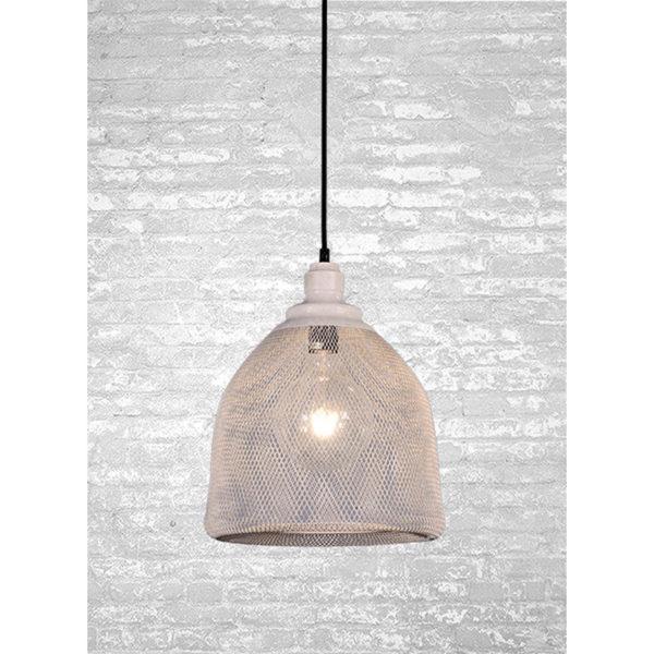 Φωτιστικό Οροφής Μονόφωτη Μεταλλική Διπλή Δυχτιωτή Καμπάνα Λευκό/ Γκρι Υ31