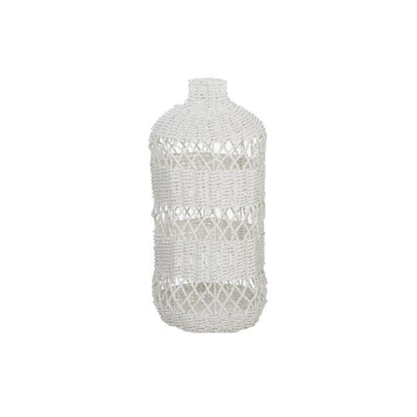 Φωτιστικό Οροφής Μονόφωτο 'Μπουκάλι' Από Πάνδανο Πλεκτό Λευκό Δ33 Υ73