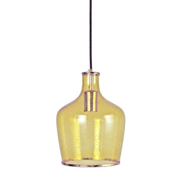 Φωτιστικό Οροφής Μονόφωτο Γυάλινο Κίτρινο Με Φυσαλίδες Υ30.5